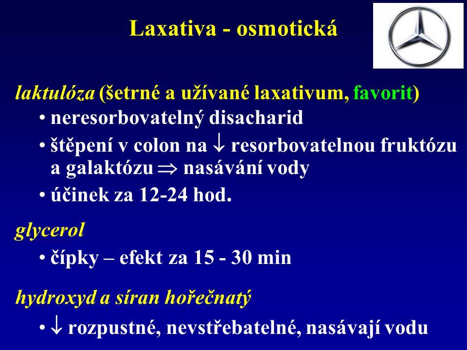 Laxativa - osmotická laktulóza (šetrné a užívané laxativum, favorit)