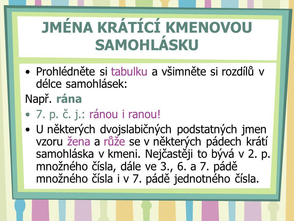 JMÉNA KRÁTÍCÍ KMENOVOU SAMOHLÁSKU
