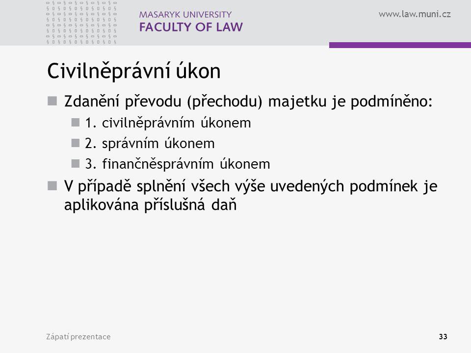 Civilněprávní úkon Zdanění převodu (přechodu) majetku je podmíněno: