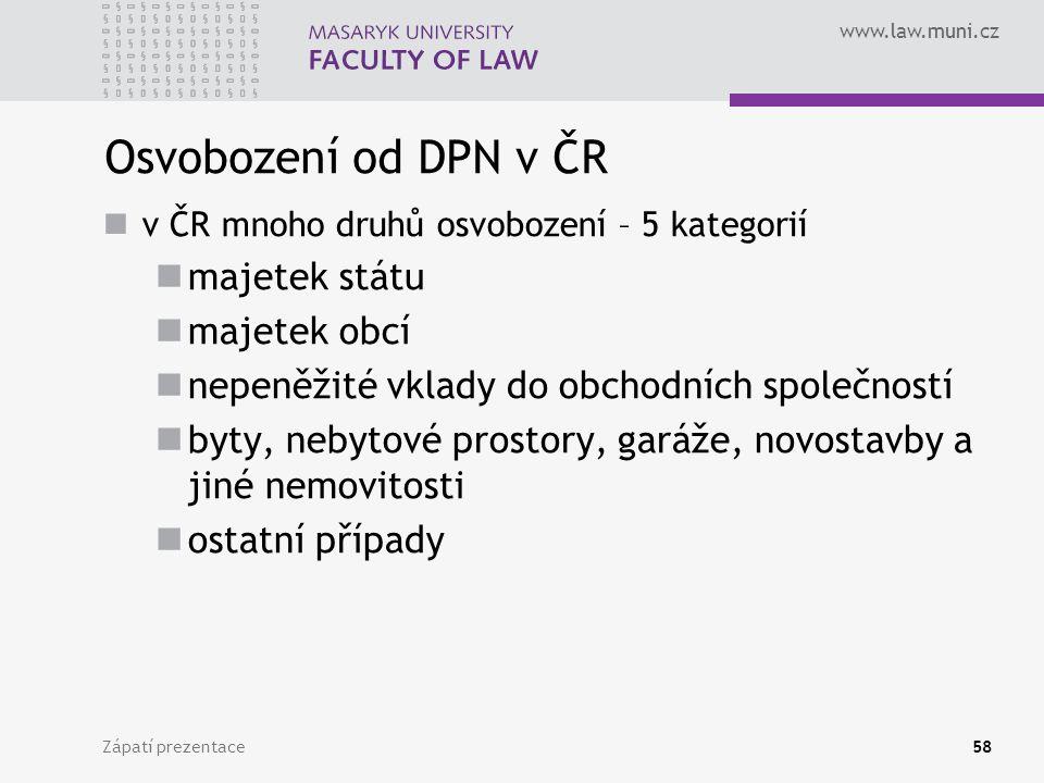 Osvobození od DPN v ČR majetek státu majetek obcí