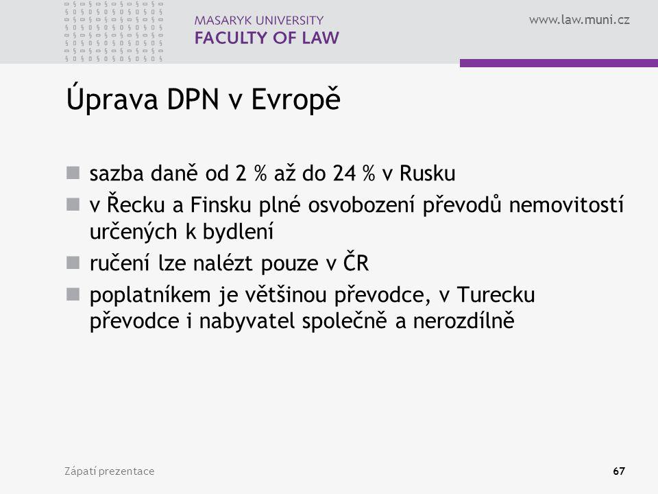 Úprava DPN v Evropě sazba daně od 2 % až do 24 % v Rusku