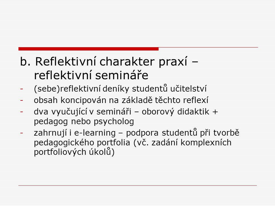 b. Reflektivní charakter praxí – reflektivní semináře