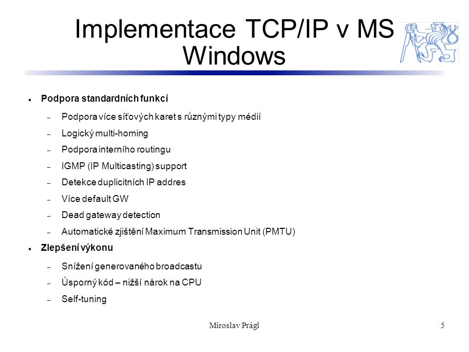 Implementace TCP/IP v MS Windows