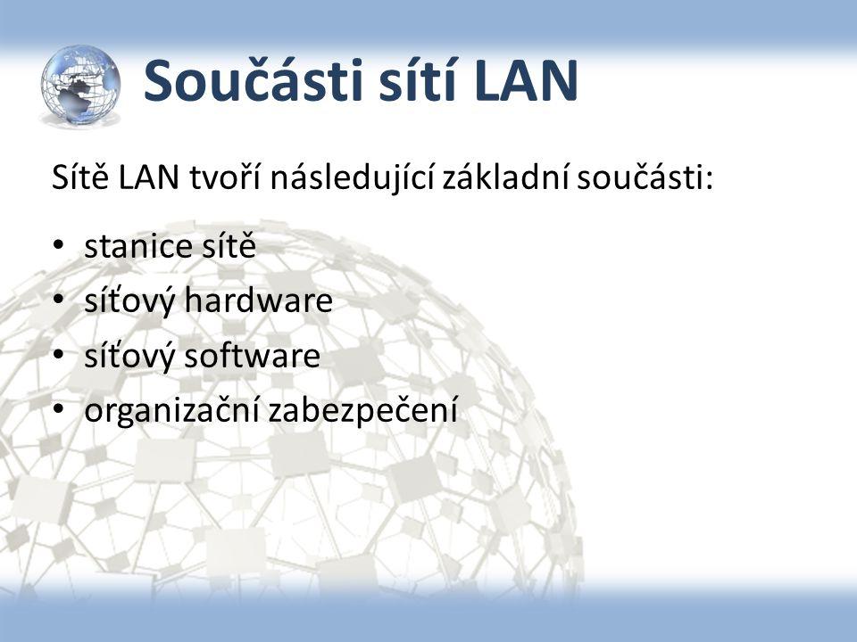 Součásti sítí LAN Sítě LAN tvoří následující základní součásti: