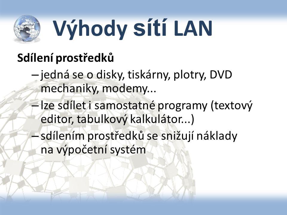 Výhody sítí LAN Sdílení prostředků