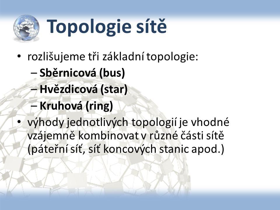 Topologie sítě rozlišujeme tři základní topologie: Sběrnicová (bus)