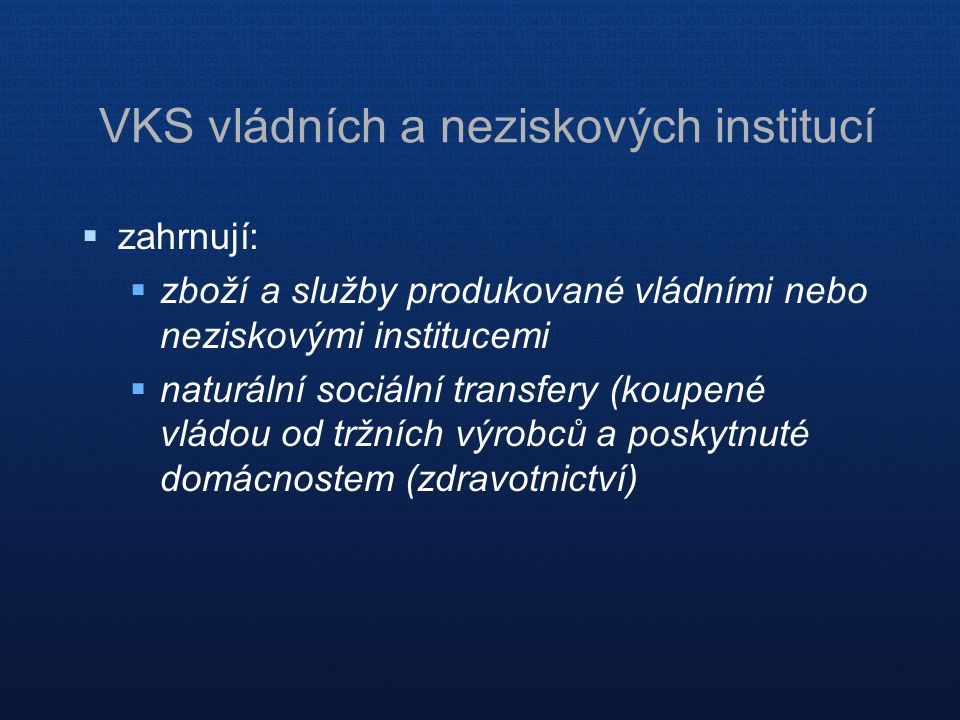 VKS vládních a neziskových institucí