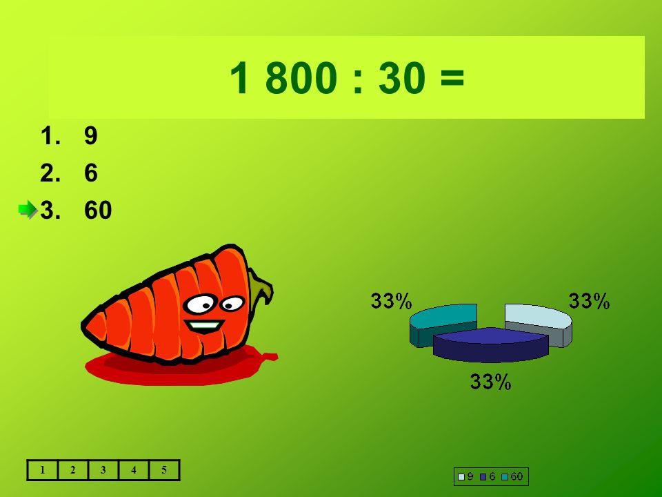 Vložte text otázky... 1 800 : 30 = 9 6 60 1 2 3 4 5