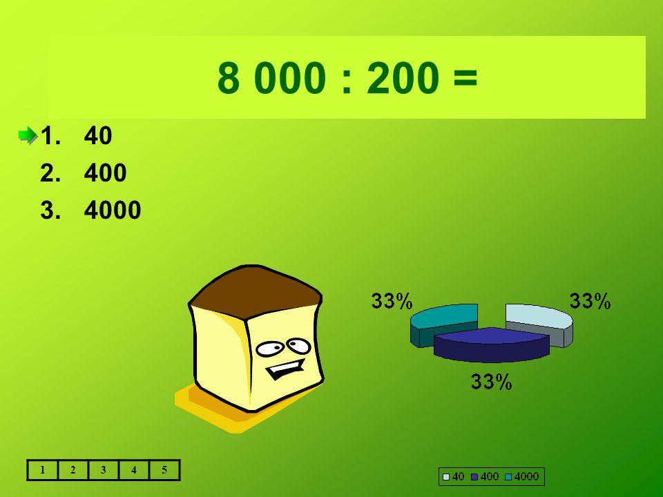 Vložte text otázky... 8 000 : 200 = 40 400 4000 1 2 3 4 5