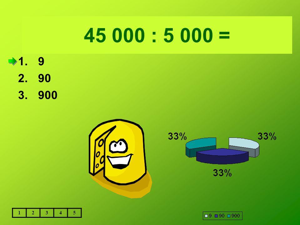 Vložte text otázky... 45 000 : 5 000 = 9 90 900 1 2 3 4 5