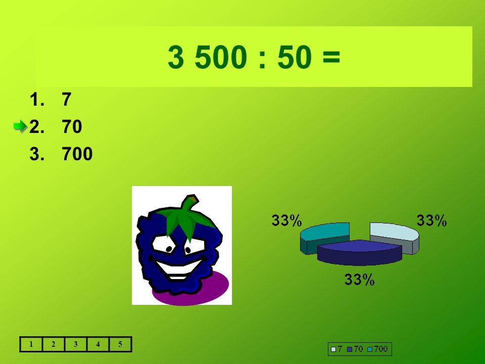 Vložte text otázky... 3 500 : 50 = 7 70 700 1 2 3 4 5