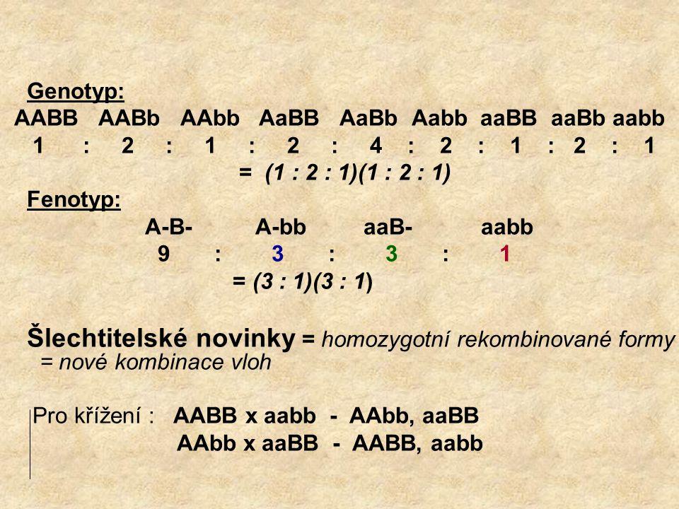 Genotyp: AABB AABb AAbb AaBB AaBb Aabb aaBB aaBb aabb.