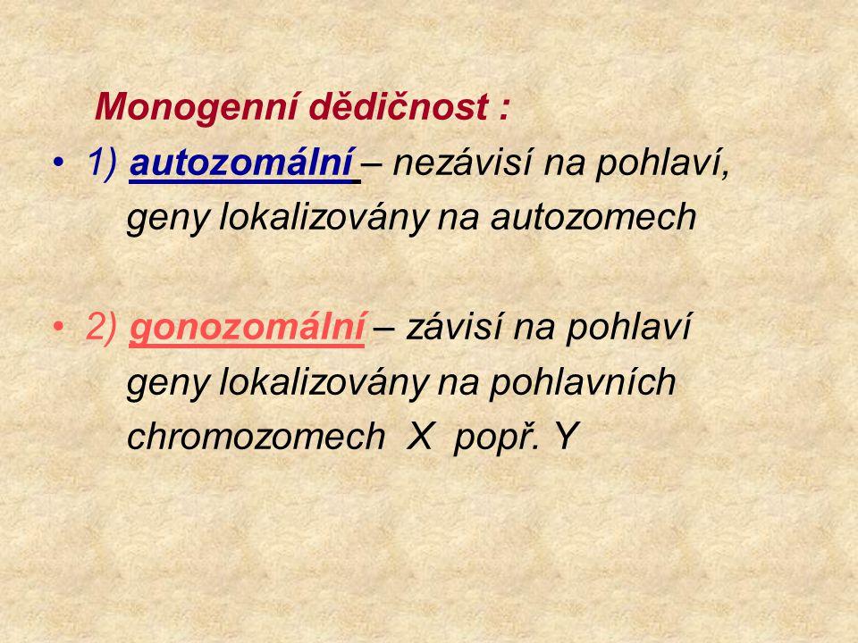 Monogenní dědičnost : 1) autozomální – nezávisí na pohlaví, geny lokalizovány na autozomech. 2) gonozomální – závisí na pohlaví.