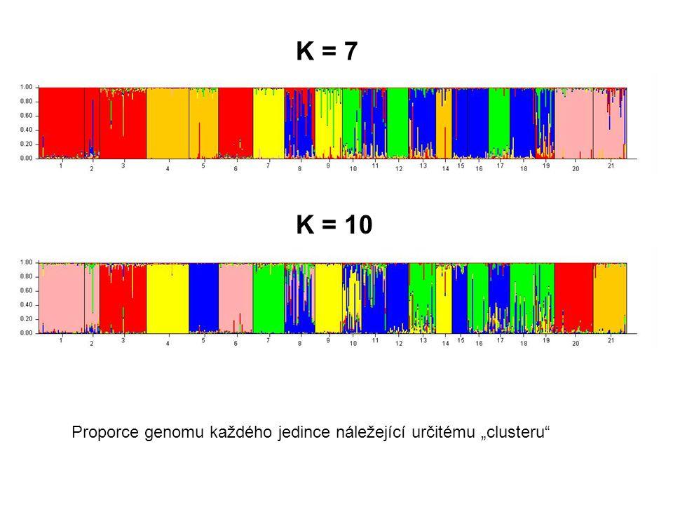 """K = 7 K = 10 Proporce genomu každého jedince náležející určitému """"clusteru"""