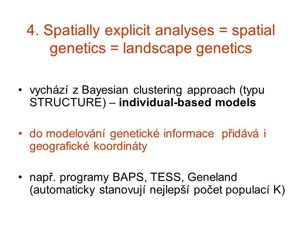 4. Spatially explicit analyses = spatial genetics = landscape genetics
