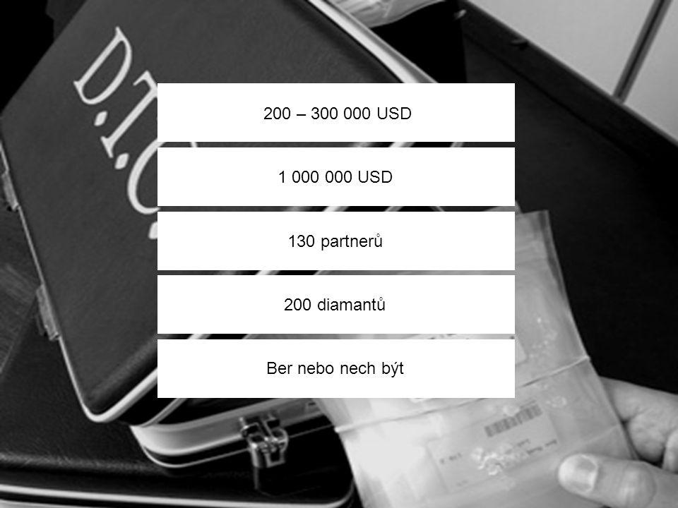 200 – 300 000 USD 1 000 000 USD 130 partnerů 200 diamantů Ber nebo nech být
