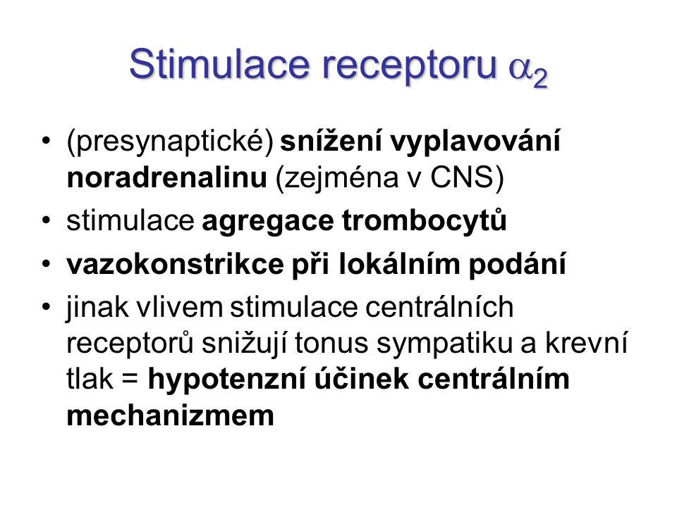 Stimulace receptoru 2 (presynaptické) snížení vyplavování noradrenalinu (zejména v CNS) stimulace agregace trombocytů.