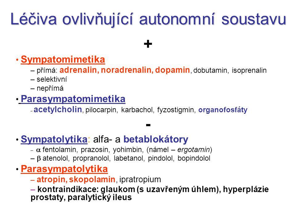 Léčiva ovlivňující autonomní soustavu