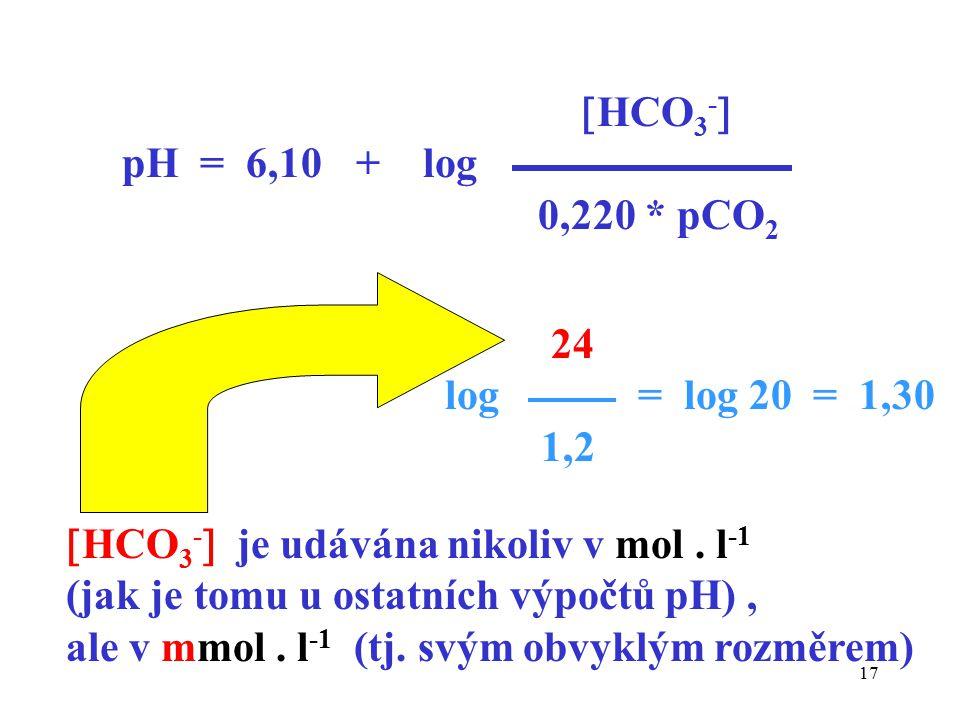 HCO3- pH = 6,10 + log. 0,220 * pCO2. 24. log = log 20 = 1,30. 1,2. HCO3- je udávána nikoliv v mol . l-1.