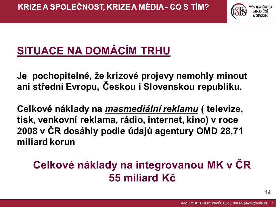 Celkové náklady na integrovanou MK v ČR 55 miliard Kč