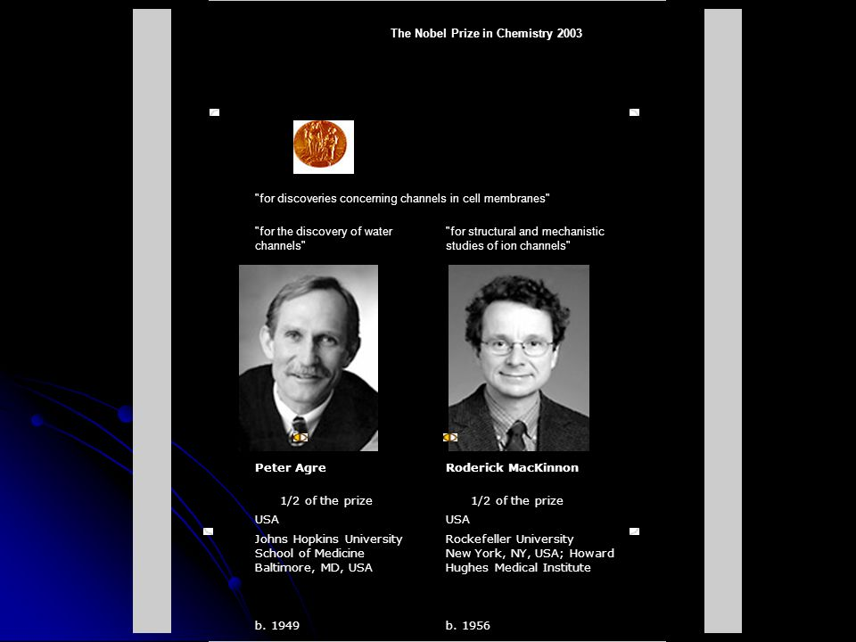 The Nobel Prize in Chemistry 2003. for discoveries concerning channels in cell membranes
