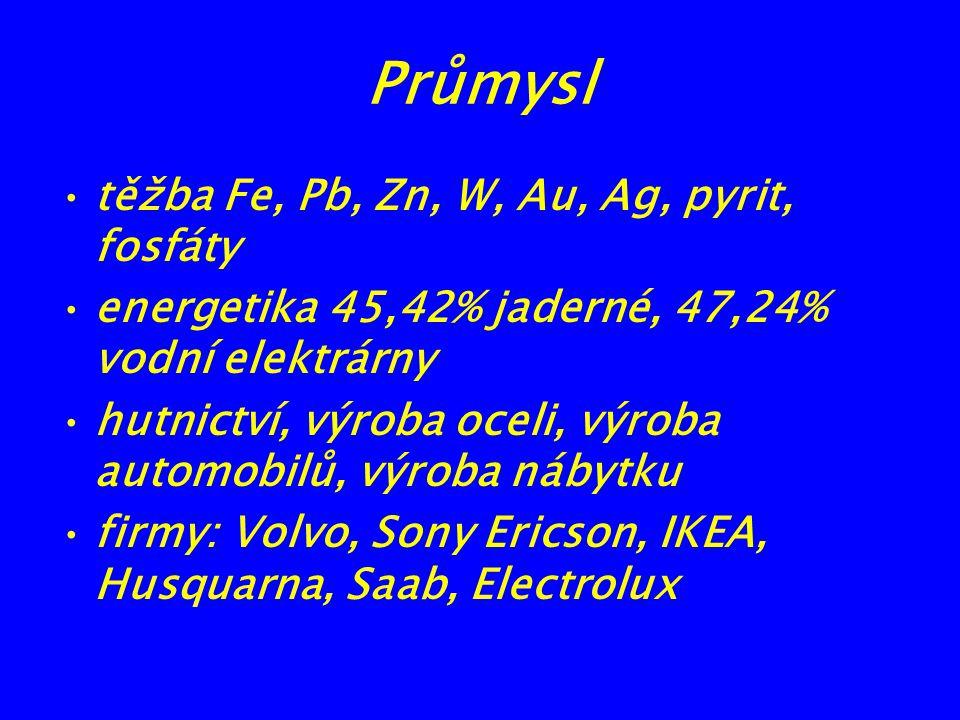 Průmysl těžba Fe, Pb, Zn, W, Au, Ag, pyrit, fosfáty