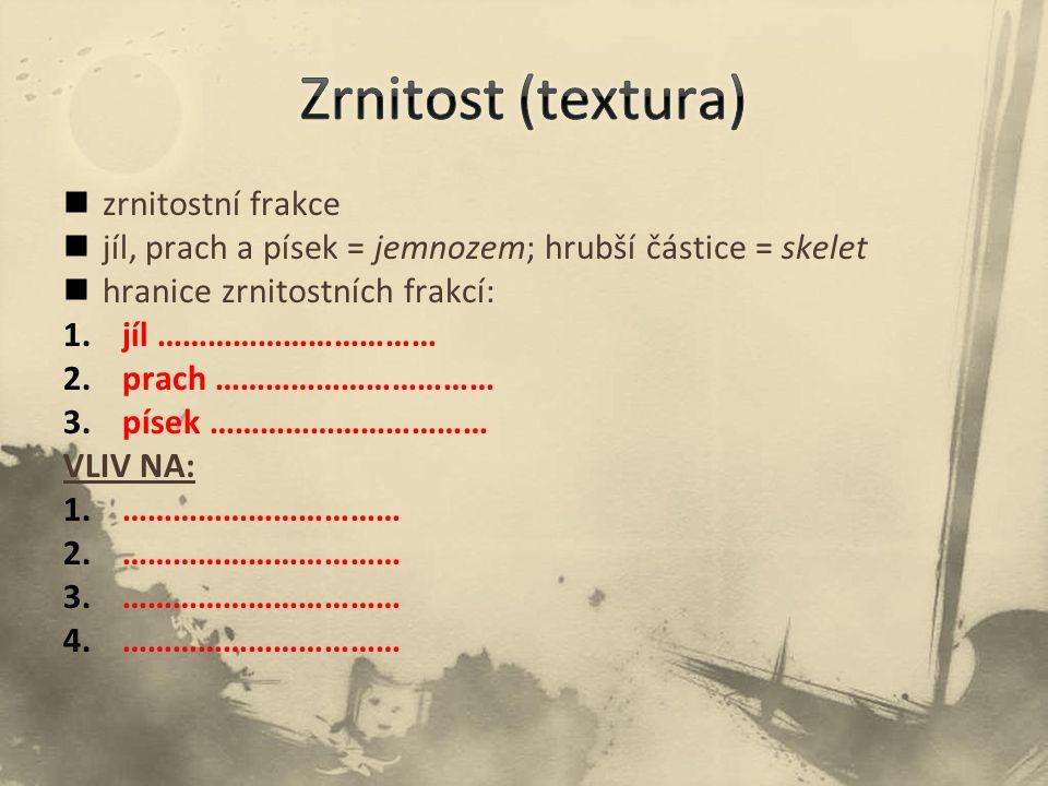 Zrnitost (textura) zrnitostní frakce