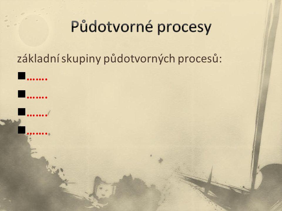 Půdotvorné procesy základní skupiny půdotvorných procesů: …….