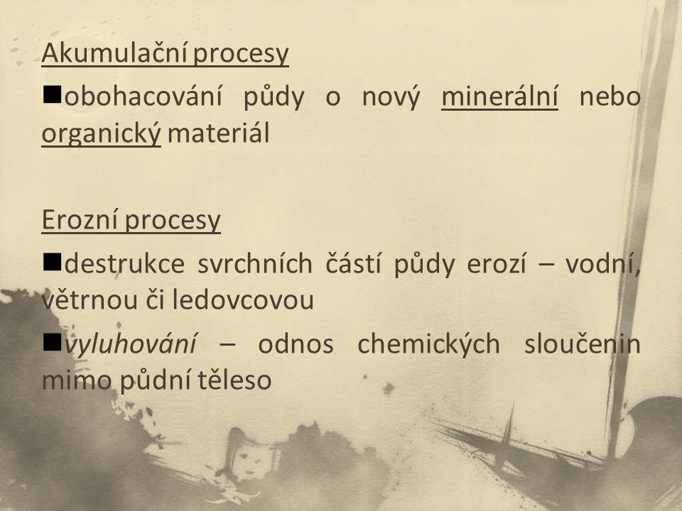 Akumulační procesy obohacování půdy o nový minerální nebo organický materiál. Erozní procesy.