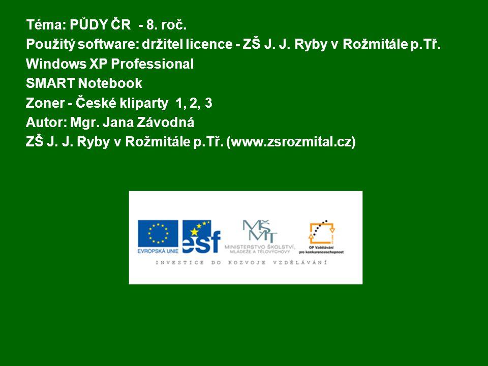 Téma: PŮDY ČR - 8. roč. Použitý software: držitel licence - ZŠ J. J. Ryby v Rožmitále p.Tř. Windows XP Professional.