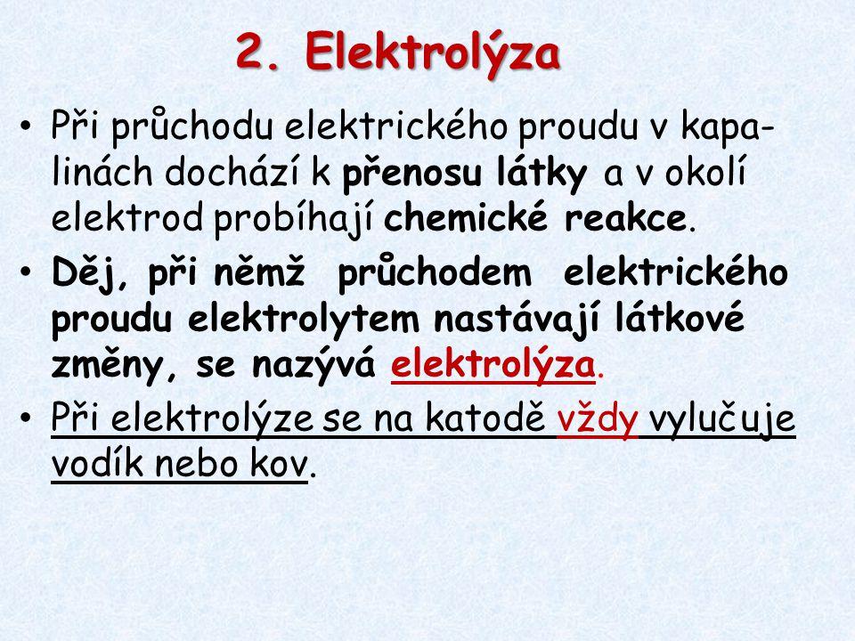 2. Elektrolýza Při průchodu elektrického proudu v kapa-linách dochází k přenosu látky a v okolí elektrod probíhají chemické reakce.