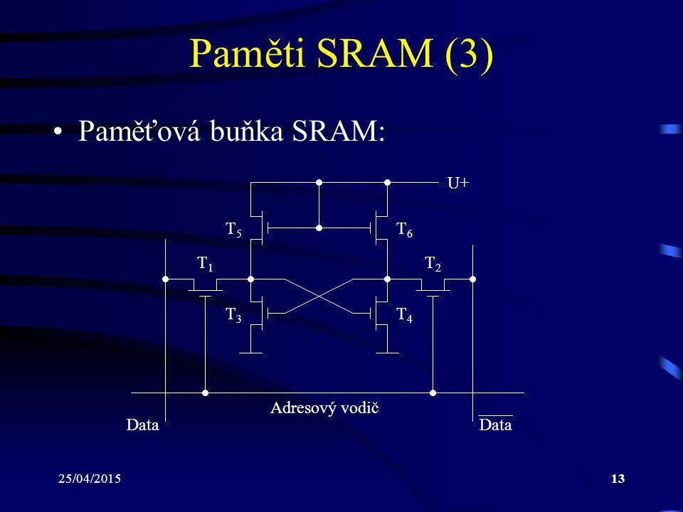 Paměti SRAM (3) Paměťová buňka SRAM: U+ T5 T6 T1 T2 T3 T4