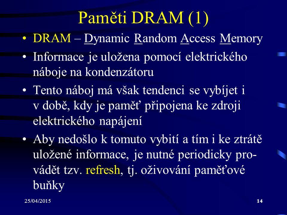 Paměti DRAM (1) DRAM – Dynamic Random Access Memory