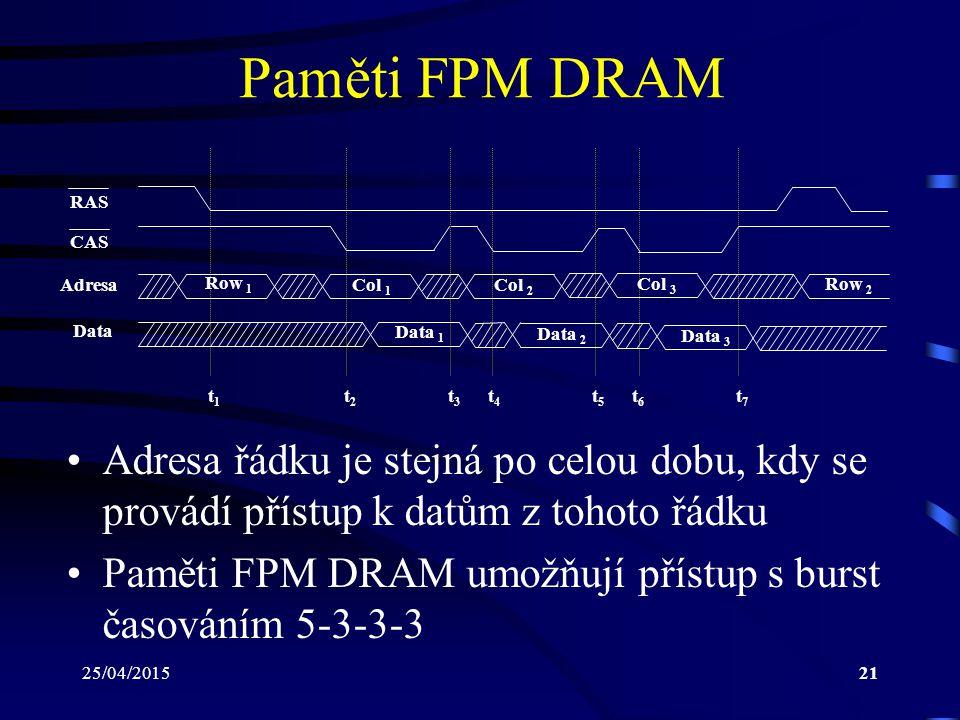 Paměti FPM DRAM RAS. CAS. Adresa. Row 1. Col 1. Col 2. Col 3. Row 2. Data. Data 1. Data 2.