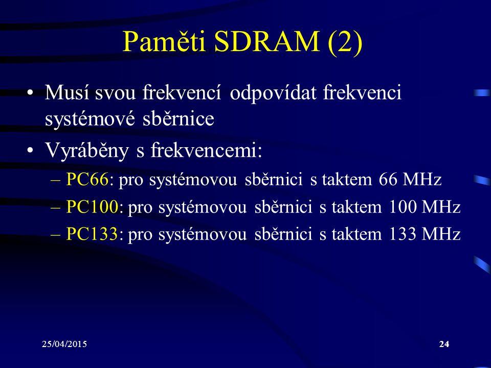 Paměti SDRAM (2) Musí svou frekvencí odpovídat frekvenci systémové sběrnice. Vyráběny s frekvencemi: