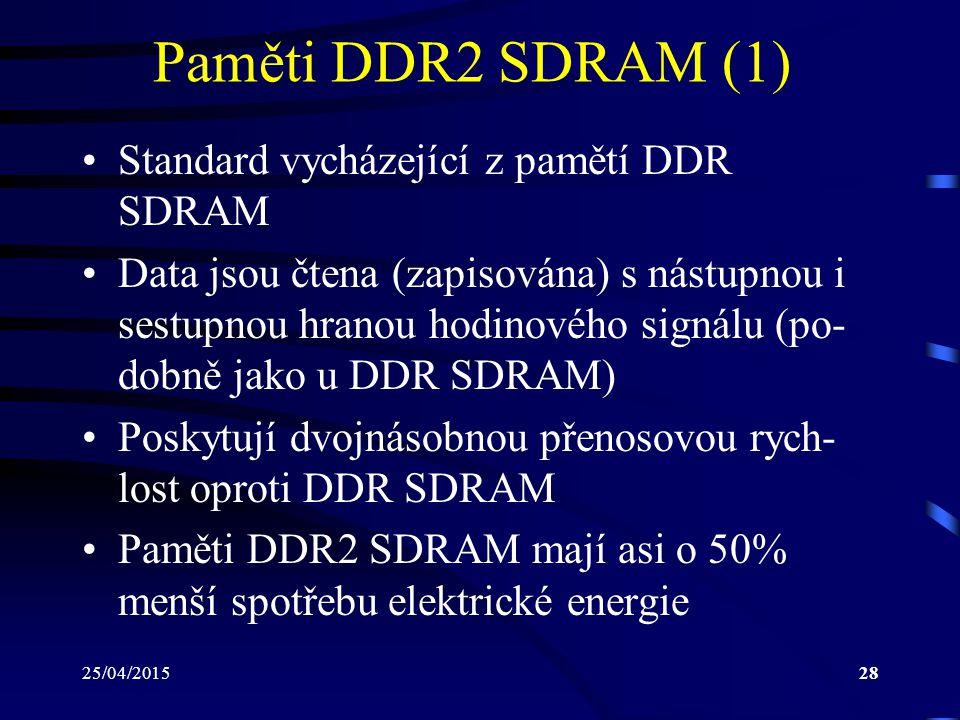 Paměti DDR2 SDRAM (1) Standard vycházející z pamětí DDR SDRAM