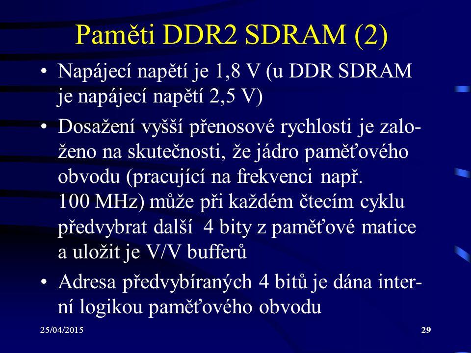 Paměti DDR2 SDRAM (2) Napájecí napětí je 1,8 V (u DDR SDRAM je napájecí napětí 2,5 V)