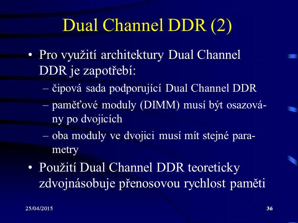 Dual Channel DDR (2) Pro využití architektury Dual Channel DDR je zapotřebí: čipová sada podporující Dual Channel DDR.