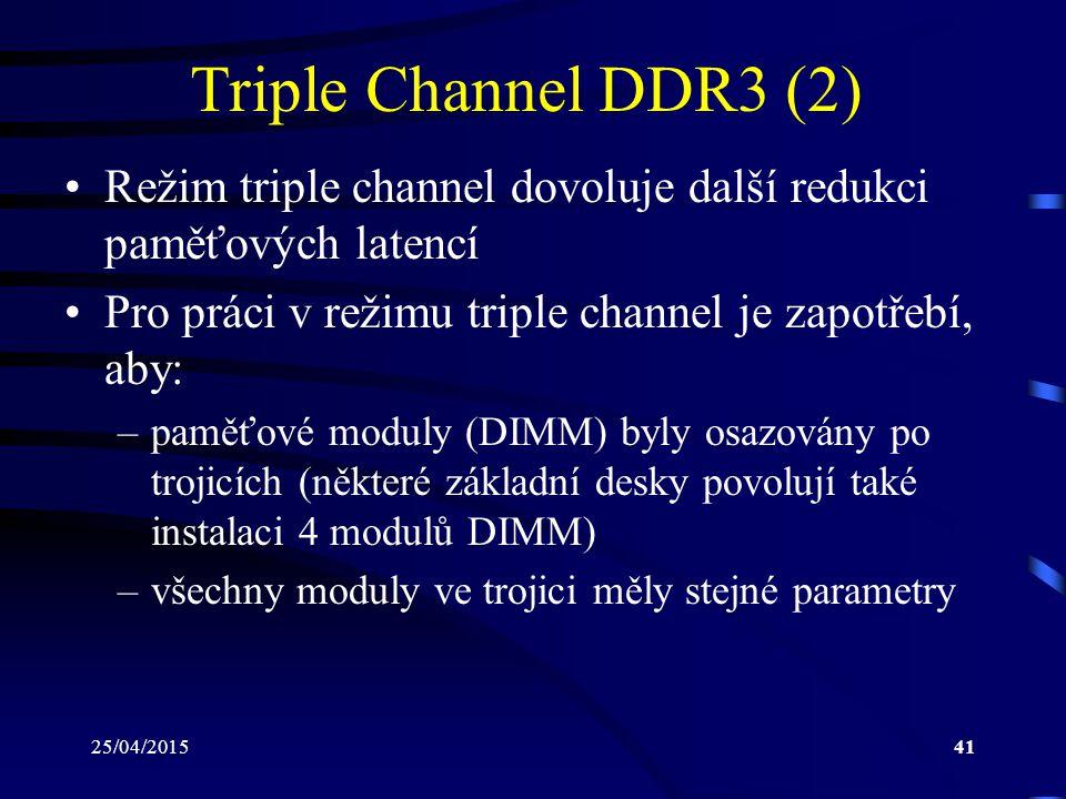 Triple Channel DDR3 (2) Režim triple channel dovoluje další redukci paměťových latencí. Pro práci v režimu triple channel je zapotřebí, aby: