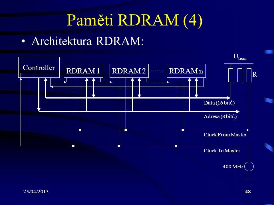 Paměti RDRAM (4) Architektura RDRAM: Controller RDRAM 1 RDRAM 2