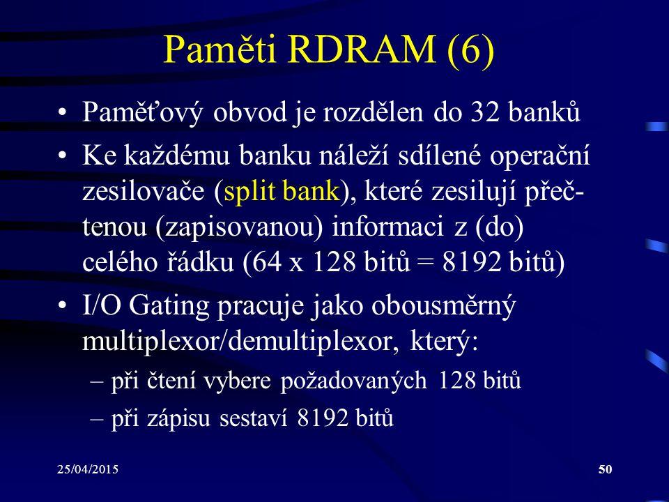 Paměti RDRAM (6) Paměťový obvod je rozdělen do 32 banků