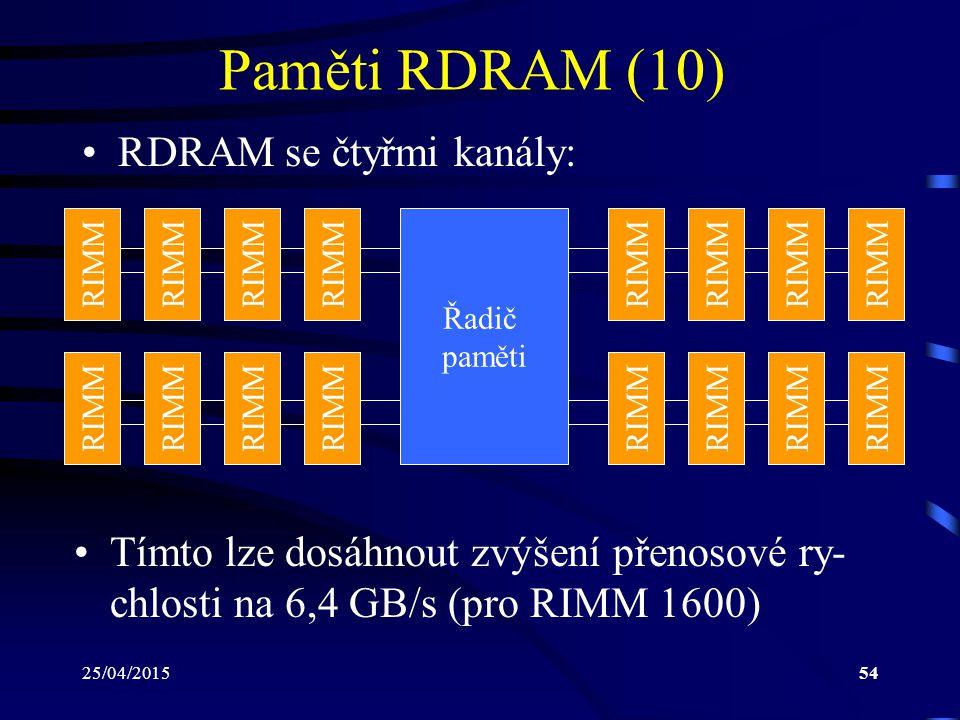 Paměti RDRAM (10) RDRAM se čtyřmi kanály: