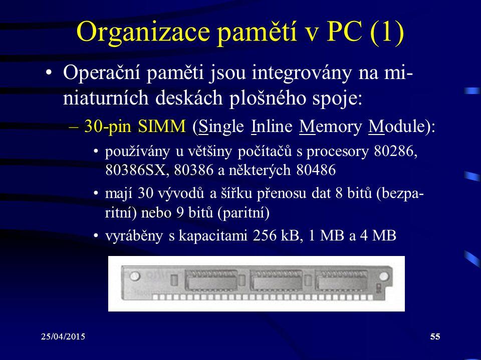Organizace pamětí v PC (1)