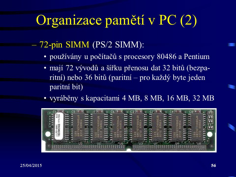 Organizace pamětí v PC (2)
