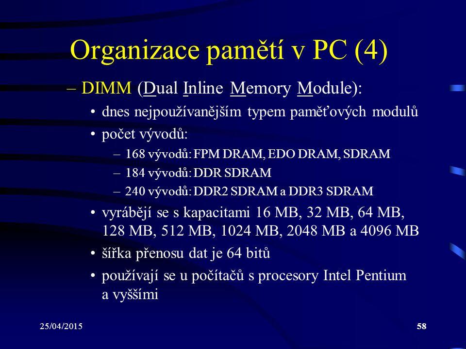 Organizace pamětí v PC (4)