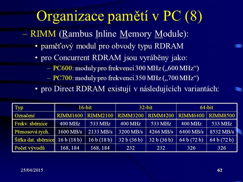 Organizace pamětí v PC (8)
