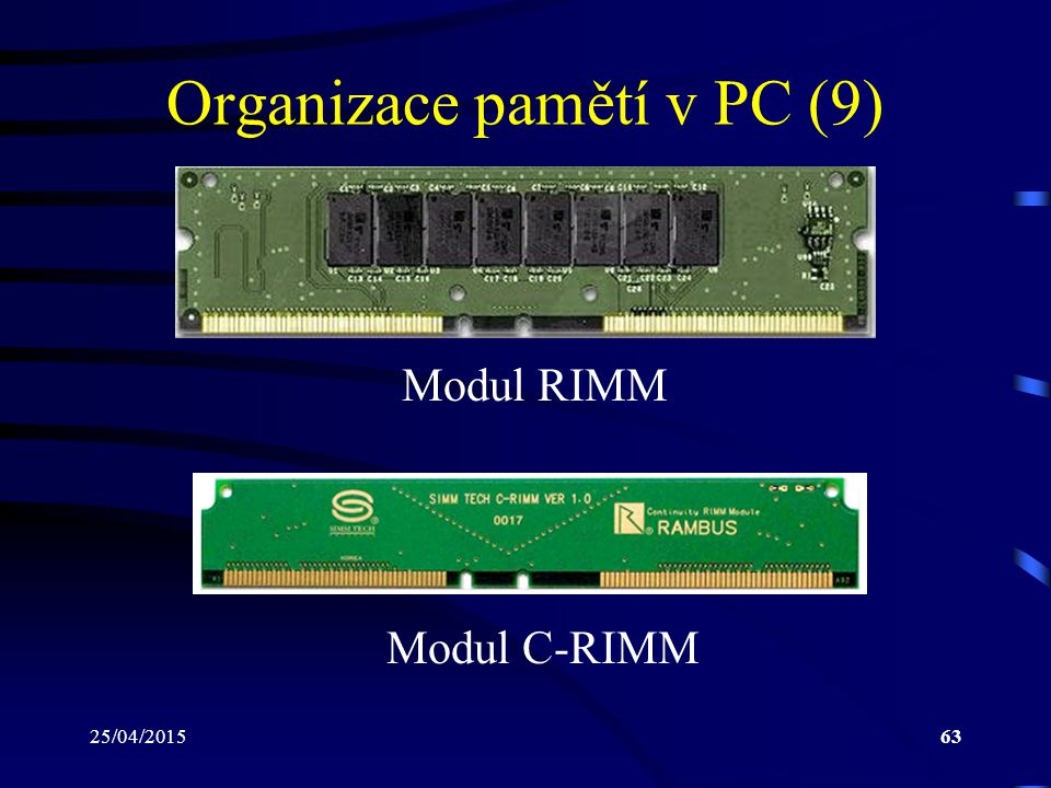 Organizace pamětí v PC (9)