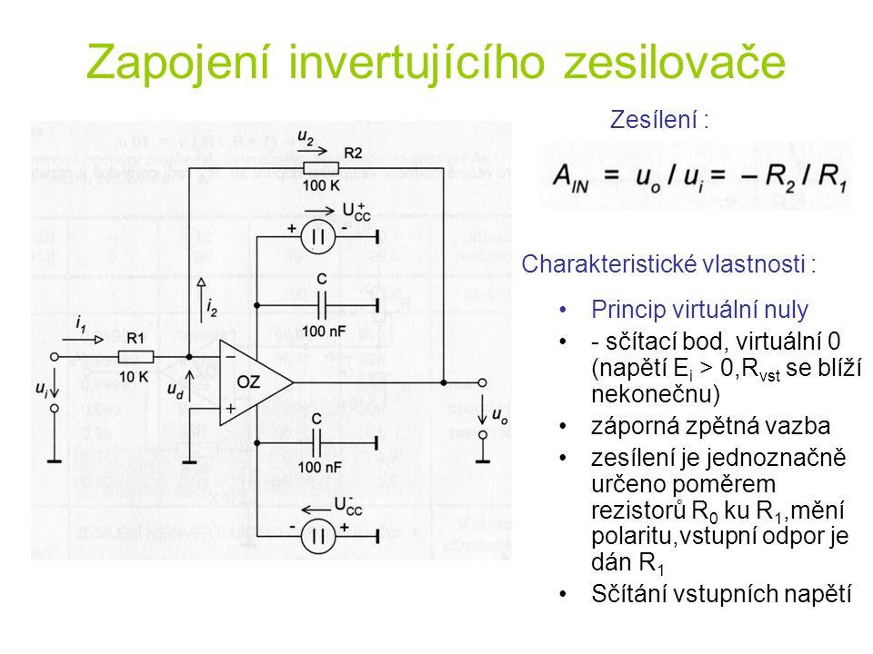 Zapojení invertujícího zesilovače