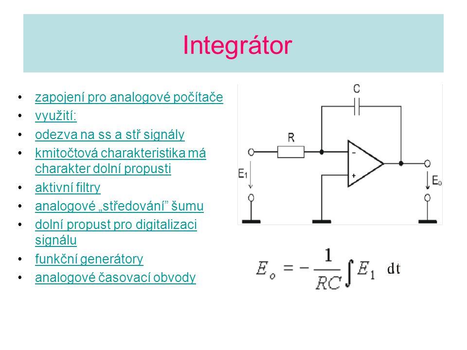 Integrátor zapojení pro analogové počítače využití:
