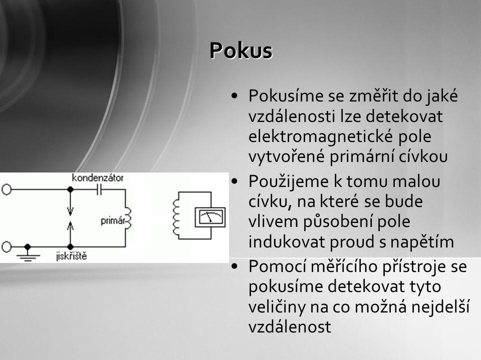 Pokus Pokusíme se změřit do jaké vzdálenosti lze detekovat elektromagnetické pole vytvořené primární cívkou.